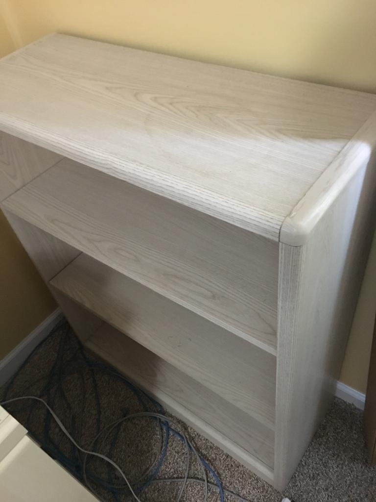 Contemporary whitewash bookshelf