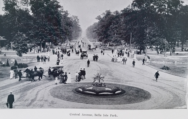 Printed photo of above Very old professional negative of Belle Isle in horse & buggy days.