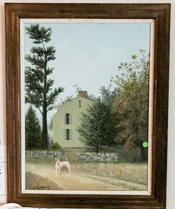 Nice painting of dog in front of house